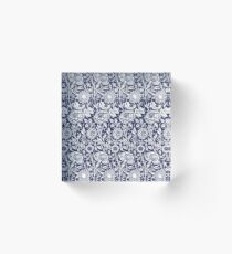 William Morris Carnations | Navy Blue and White Floral Pattern Acrylic Block