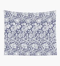 William Morris Carnations | Navy Blue and White Floral Pattern Wall Tapestry