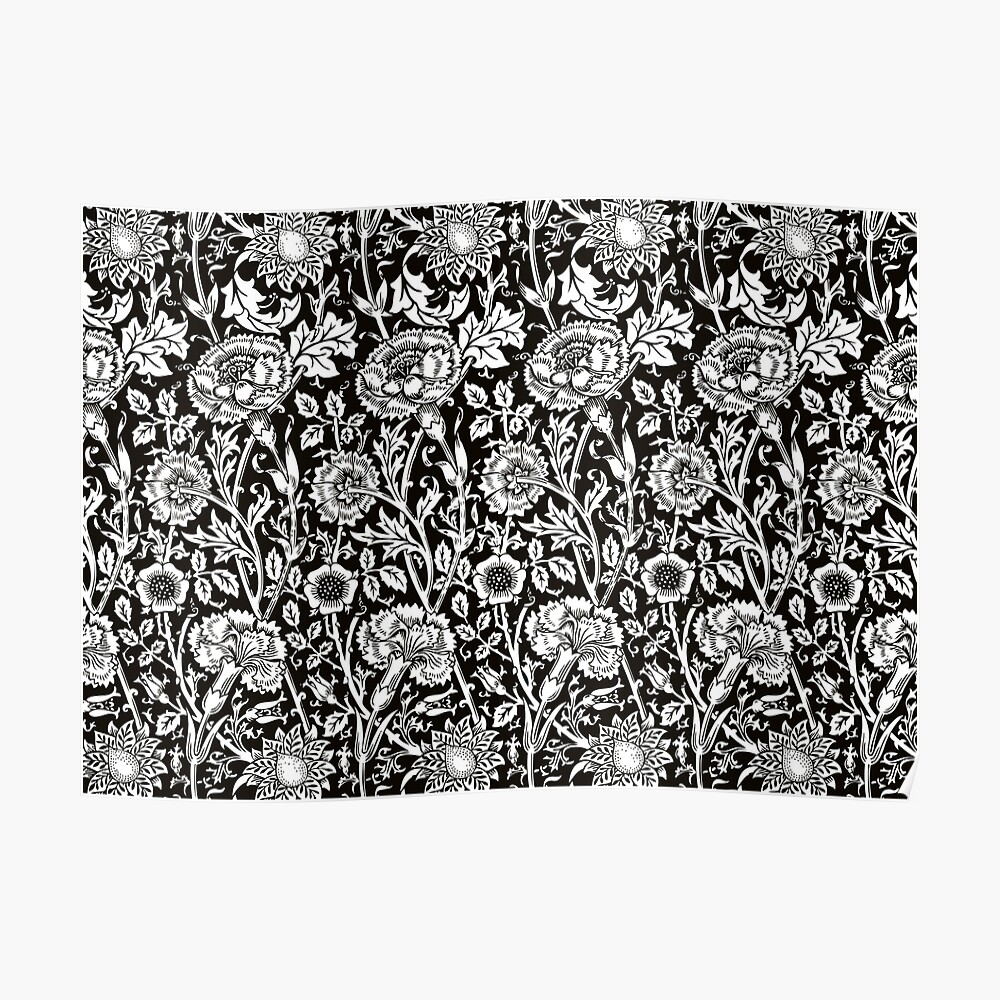 William Morris Carnations Black And White Floral Pattern