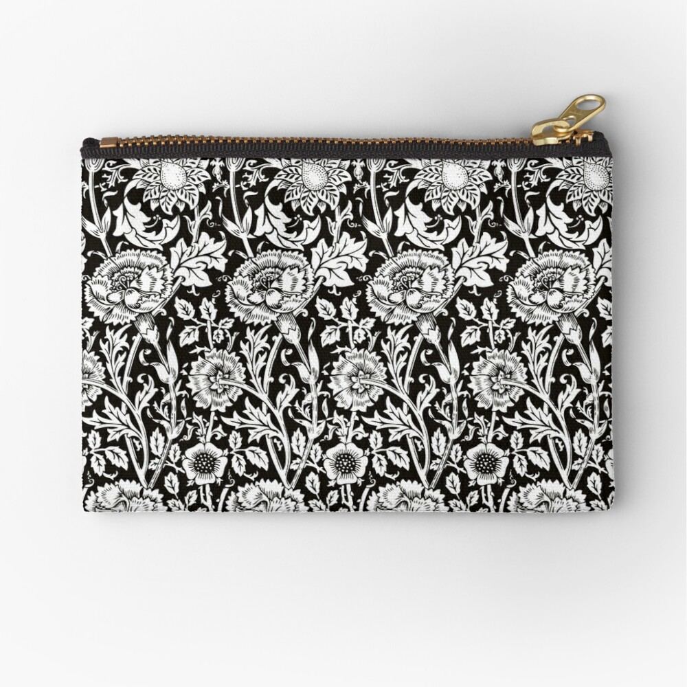 William Morris Carnations | Black and White Floral Pattern | Flower Patterns | Vintage Patterns | Classic Patterns | Zipper Pouch