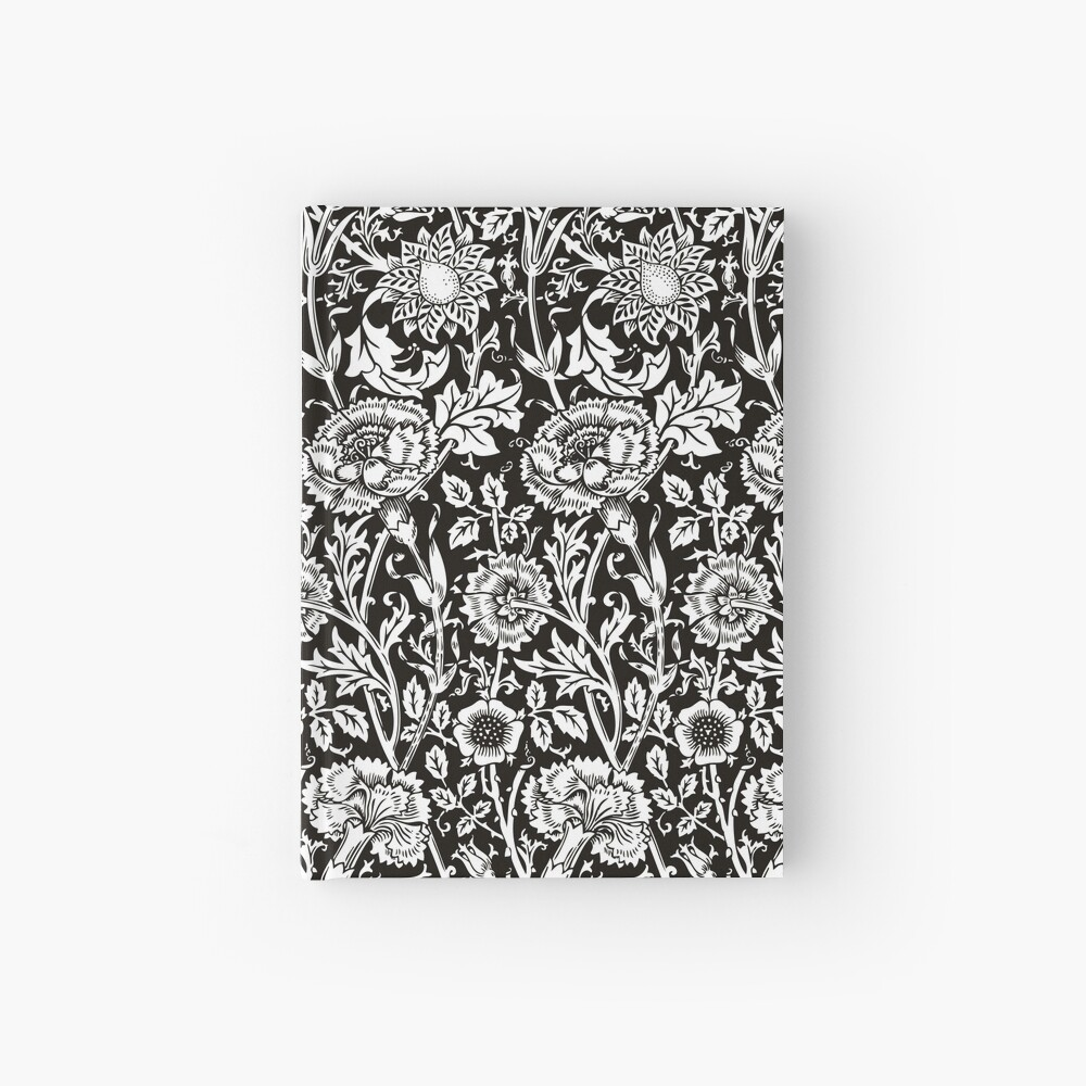 William Morris Carnations | Black and White Floral Pattern | Flower Patterns | Vintage Patterns | Classic Patterns | Hardcover Journal