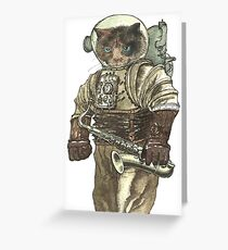 Space Cat with Saxophone Greeting Card