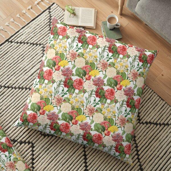 Vintage Floral Pattern 1   Multicolored Flowers   Vintage Flowers   Floor Pillow