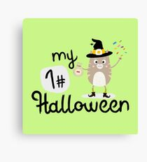 My First Halloween Cat witch Rb8x4 Canvas Print