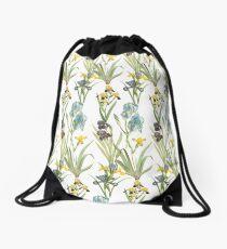 Vintage Floral Pattern | No. 2B | Irises Drawstring Bag