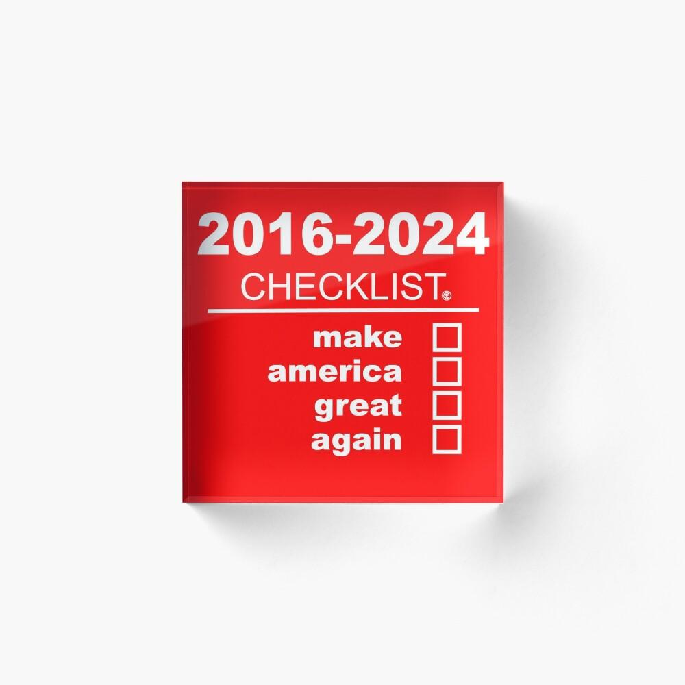 Make America Great Again | Checklist (White text) Acrylic Block