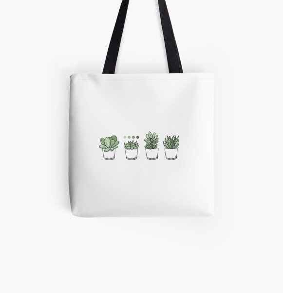 Tiny Potted Succulents and Gradient All Over Print Tote Bag
