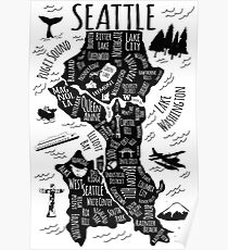 Seattle Illustrated Map on Black + White Poster