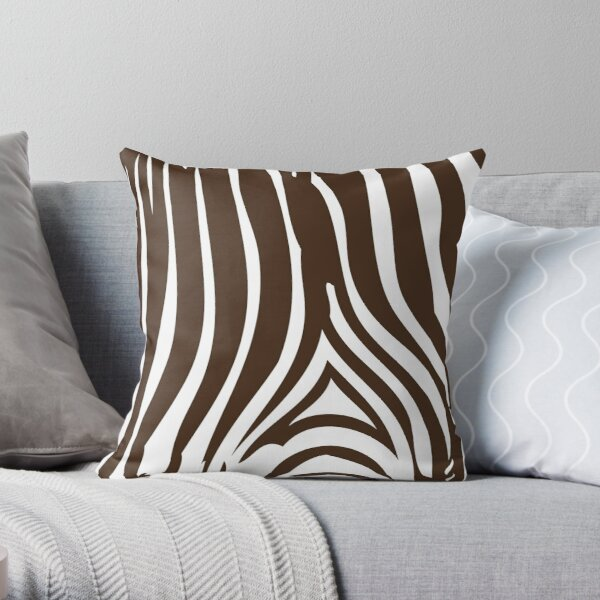 Zebra Stripes   Zebra Print   Animal Print   Chocolate Brown and White   Stripe Patterns   Striped Patterns   Throw Pillow