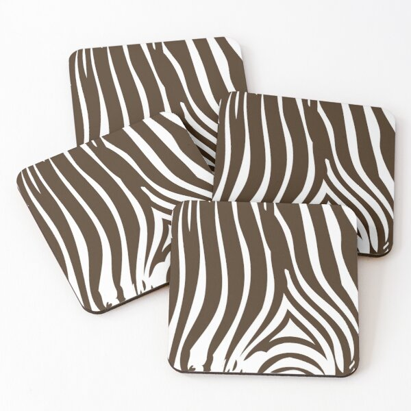 Zebra Stripes | Zebra Print | Animal Print | Chocolate Brown and White | Stripe Patterns | Striped Patterns | Coasters (Set of 4)