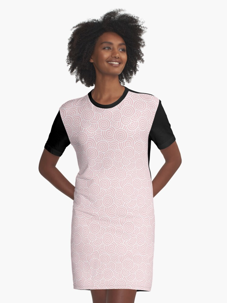 Chinese Spiral Pattern | Swirls | Rose Quartz and White | Pantone Color of the Year 2016 Graphic T-Shirt Dress Front