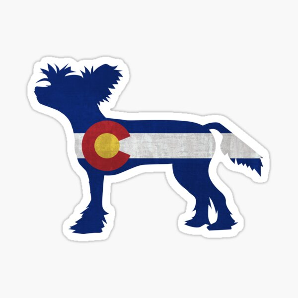 Chinese Crested Dog Colorado Flag Sticker