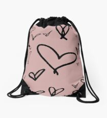 Pattern of handwritten hearts by Harry Styles Drawstring Bag