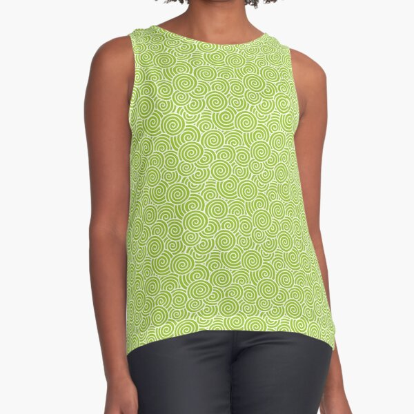 Chinese Spiral Pattern | Swirls | Lime Green and White |  Sleeveless Top