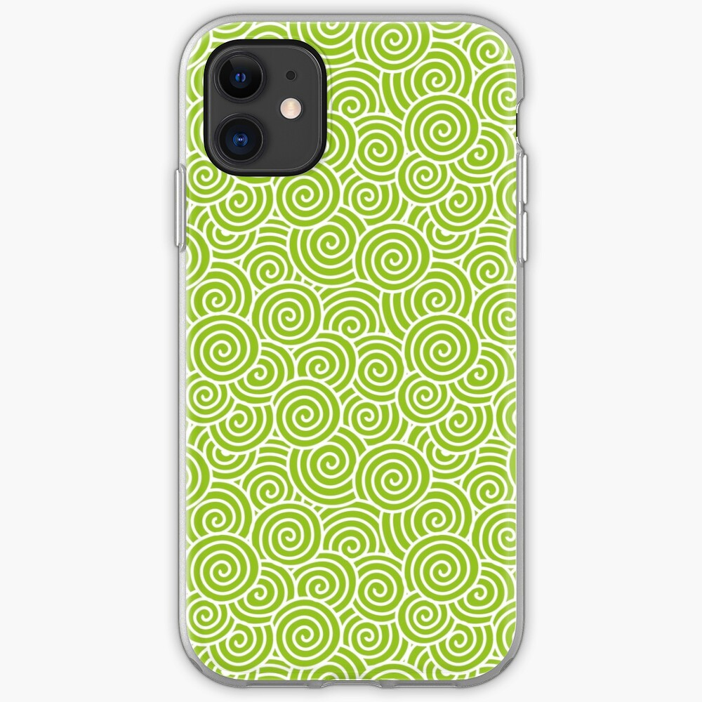 Chinese Spiral Pattern | Swirls | Lime Green and White |  iPhone Soft Case