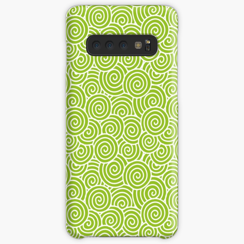 Chinese Spiral Pattern   Swirls   Lime Green and White    Samsung Galaxy Snap Case