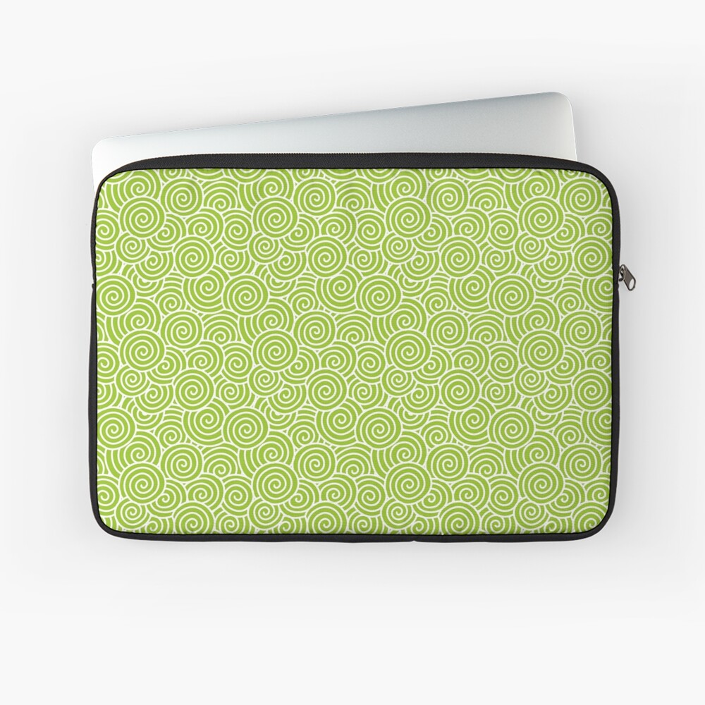 Chinese Spiral Pattern | Swirls | Lime Green and White |  Laptop Sleeve