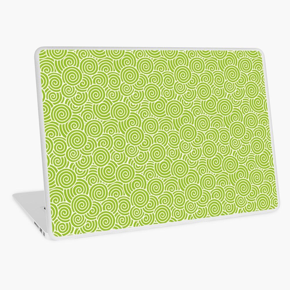 Chinese Spiral Pattern | Swirls | Lime Green and White |  Laptop Skin