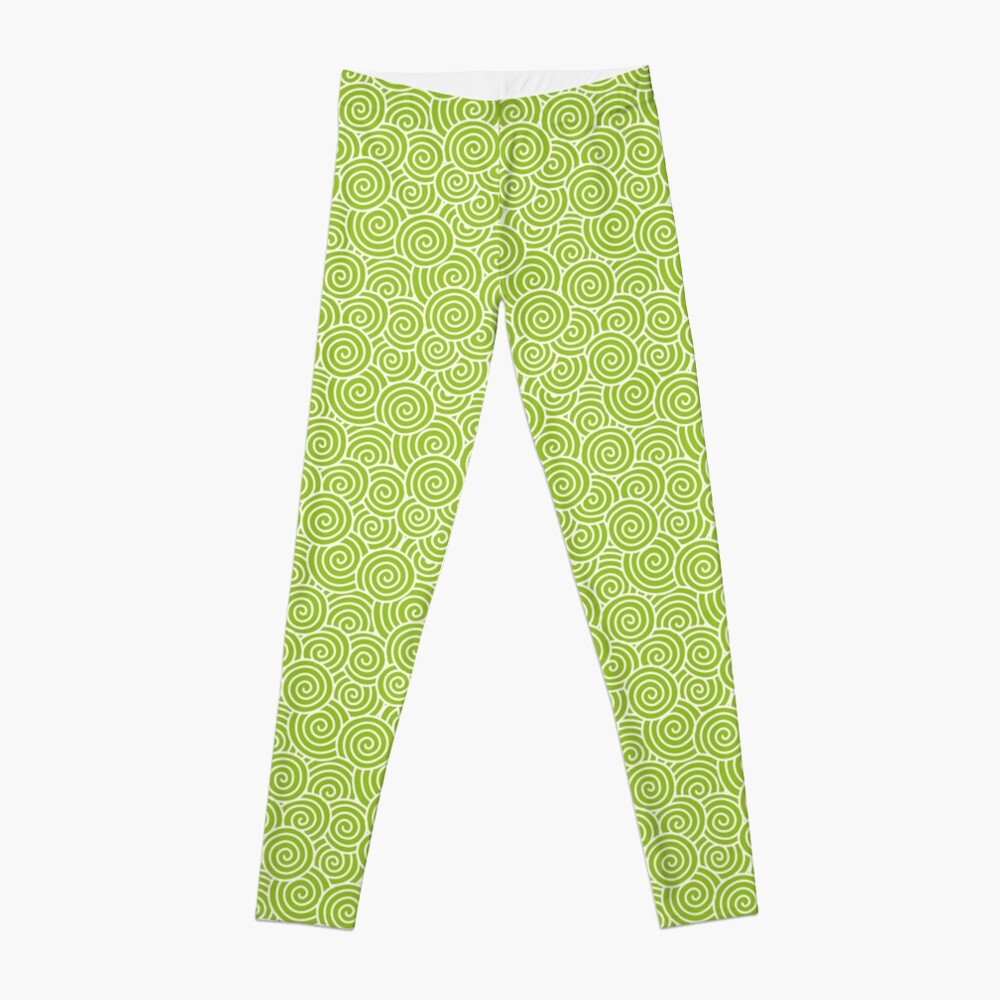 Chinese Spiral Pattern | Swirls | Lime Green and White |  Leggings