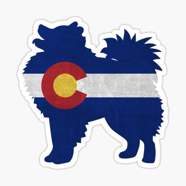 American Eskimo Dog Colorado Flag Sticker