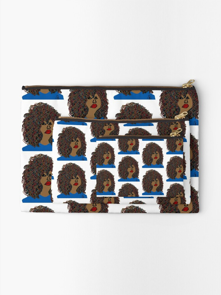Alternate view of Curlyhair Curly Girl Brown Skin Reddish Natural Hair Queen Zipper Pouch