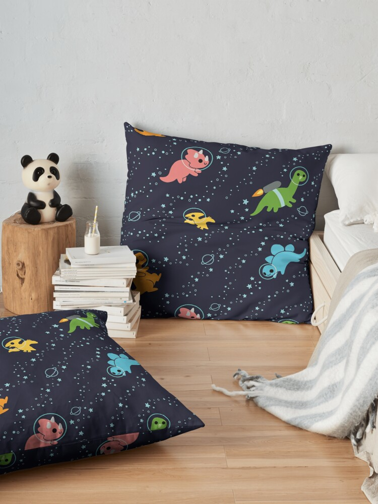 Alternate view of Dinosaurs In Space Floor Pillow