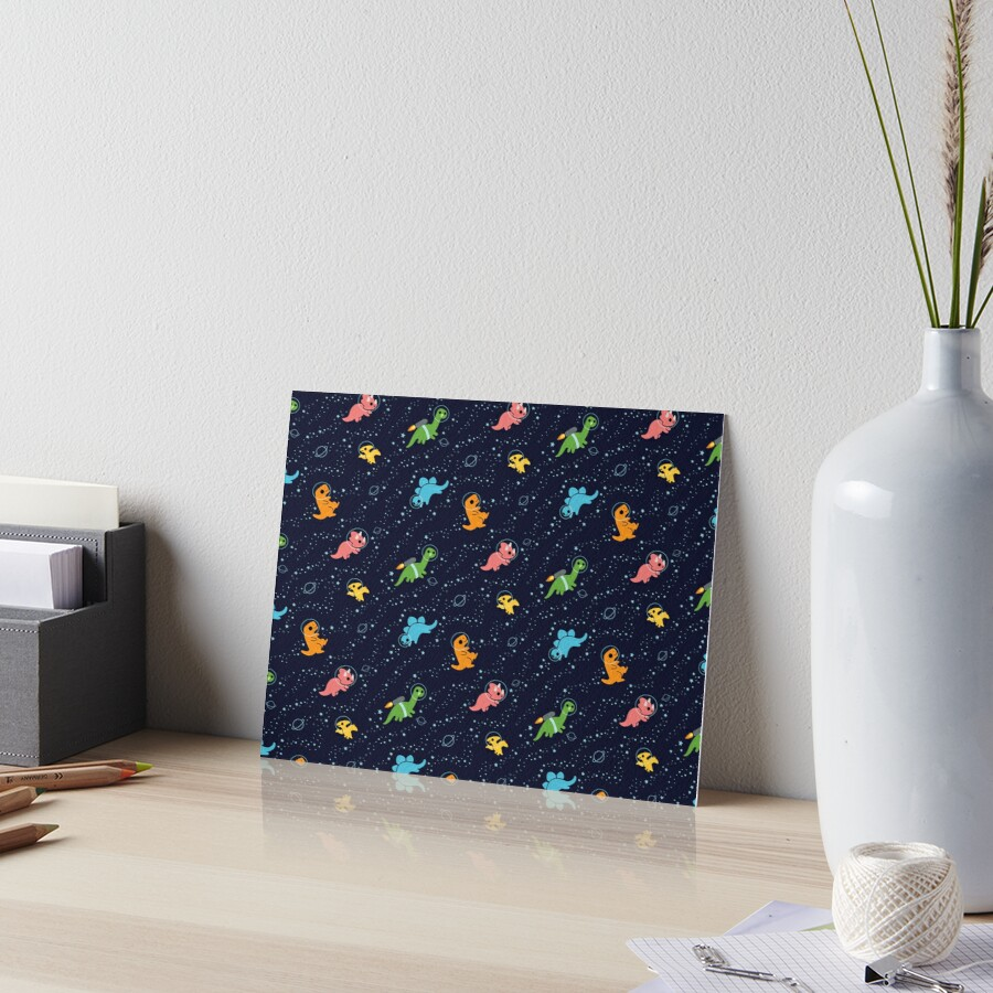 Dinosaurs In Space Art Board Print
