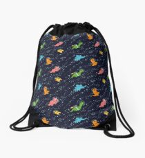 Dinosaurs In Space Drawstring Bag