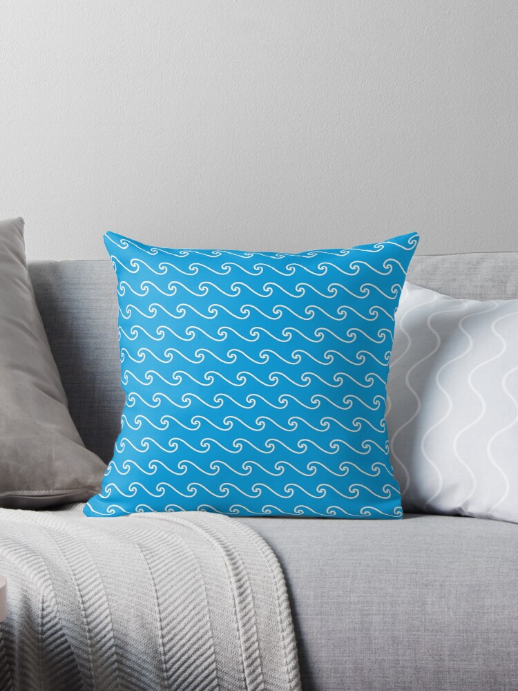 Wave Pattern | Turquoise Blue and White by EclecticAtHeART