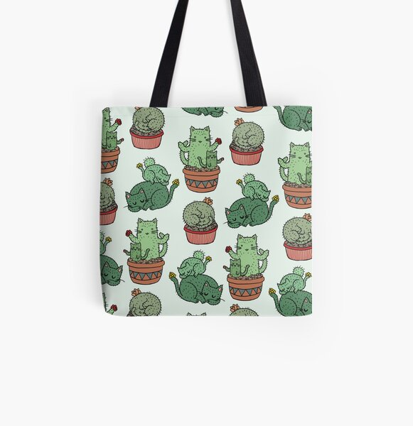 Cactus Cats All Over Print Tote Bag