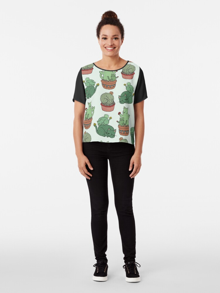 Alternate view of Cactus Cats Chiffon Top