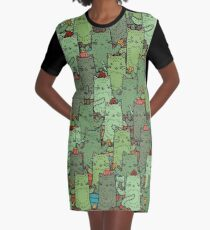 Catcus Garden Graphic T-Shirt Dress