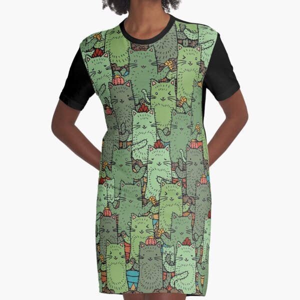 Catcus Garden Graphic T-Shirt Dress