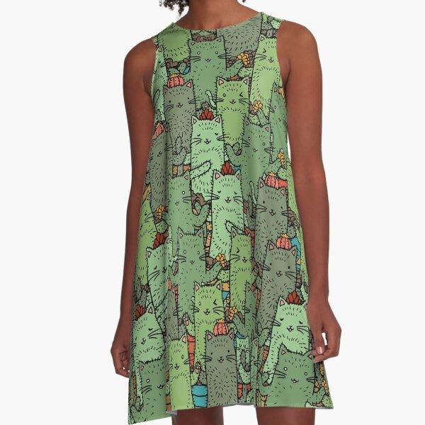 Catcus Garden A-Line Dress