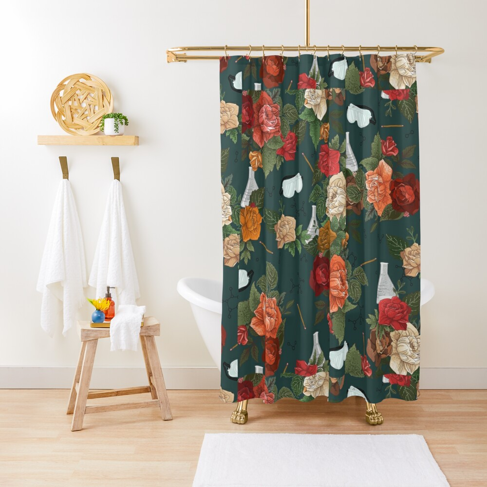 Chemistry Floral Shower Curtain