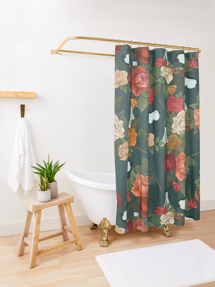 Alternate view of Chemistry Floral Shower Curtain