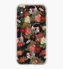 Opossum Floral Pattern (with text) iPhone Case