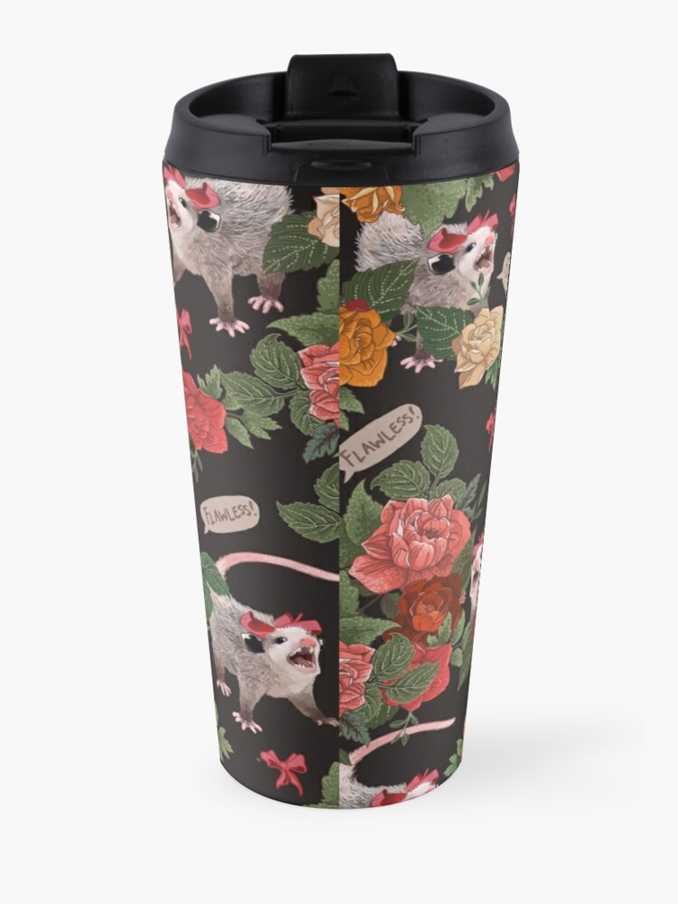 Alternate view of Opossum Floral Pattern (with text) Travel Mug
