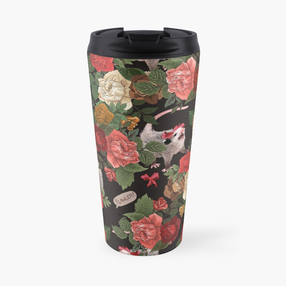 Opossum Floral Pattern (with text) Travel Mug