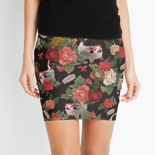 Opossum Floral Pattern (with text) Mini Skirt