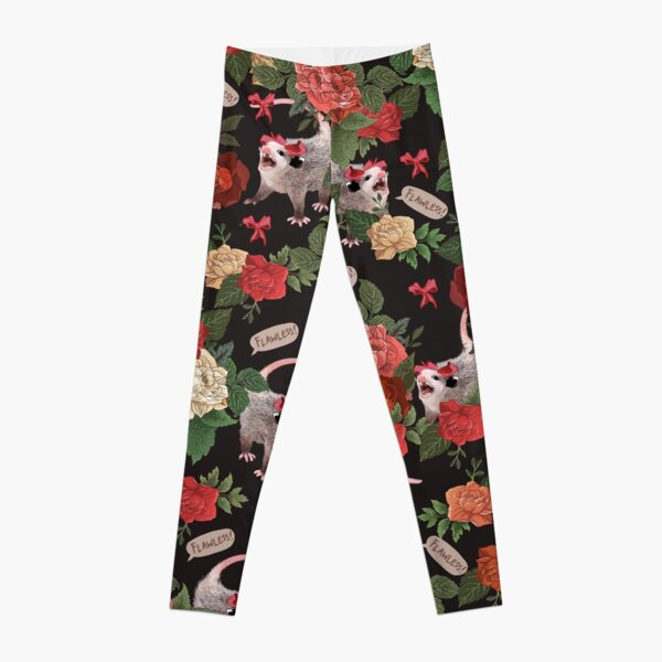 Opossum Floral Pattern (with text) Leggings
