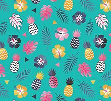 Forever Summer Tropical Pattern on Mint Green by daisy-beatrice