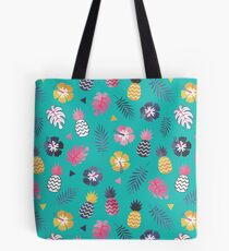Forever Summer Tropical Pattern on Mint Green Tote Bag