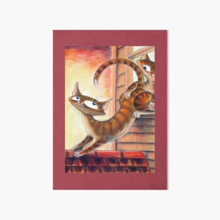 Roof Top Cats - Right Panel Art Board Print