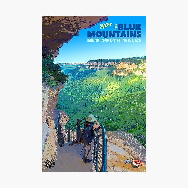Vintage-Style Blue Mountains Travel Poster Photographic Print