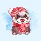 Winter Ferret by Gribanessa