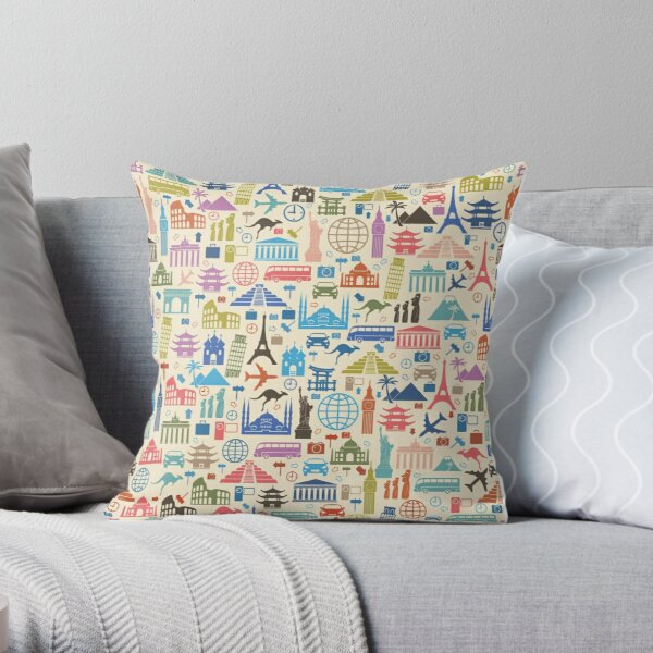 Icons of Travel Throw Pillow