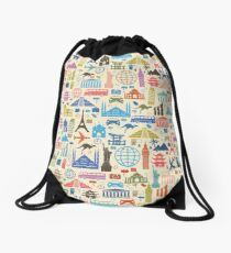 Icons of Travel Drawstring Bag