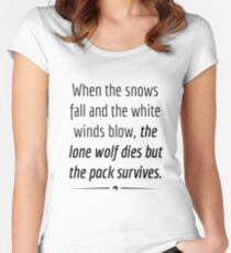 """""""When the Lone Wolf dies the pack Survives,"""" - Black on White Women's Fitted Scoop T-Shirt"""