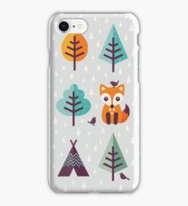 Fox in the Forest - on Gray iPhone Case/Skin